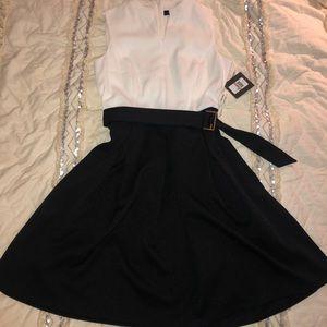 Ellen Tracy Color Block A-line Midi Dress